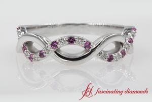 Infinity Diamond Wedding Band With Pink Sapphire In 18k White Gold