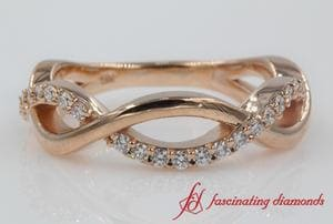 Infinity Diamond Womens Wedding Band In Rose Gold