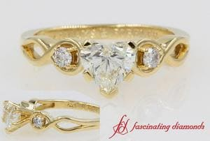 Infinity Heart 3 Stone Engagement Ring In Yellow Gold
