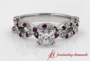 Infinity Ruby Princess Cut Diamond Ring