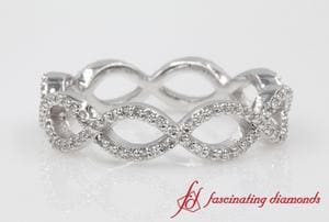 Infinity Twist Diamond Eternity Anniversary Ring In 18k White Gold
