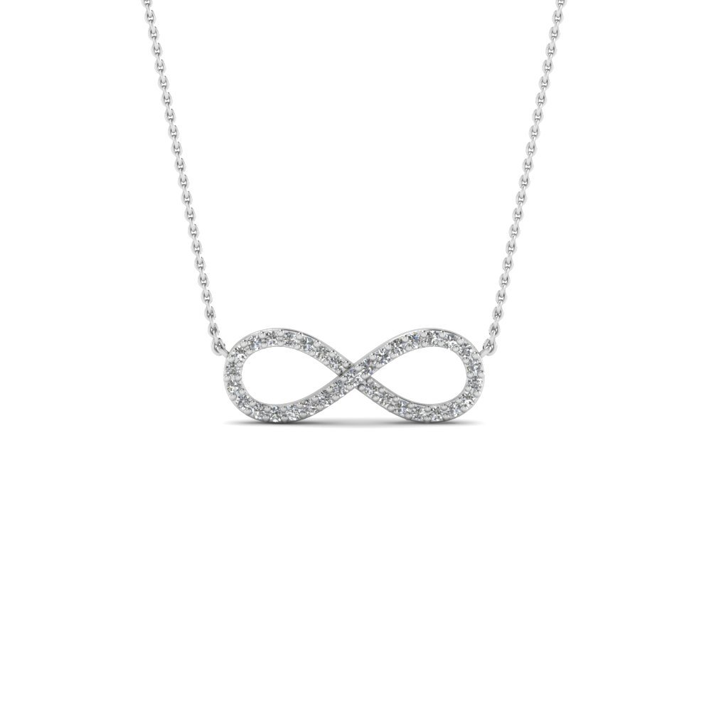 Infinity Diamond Necklace Pendant In 18K White Gold