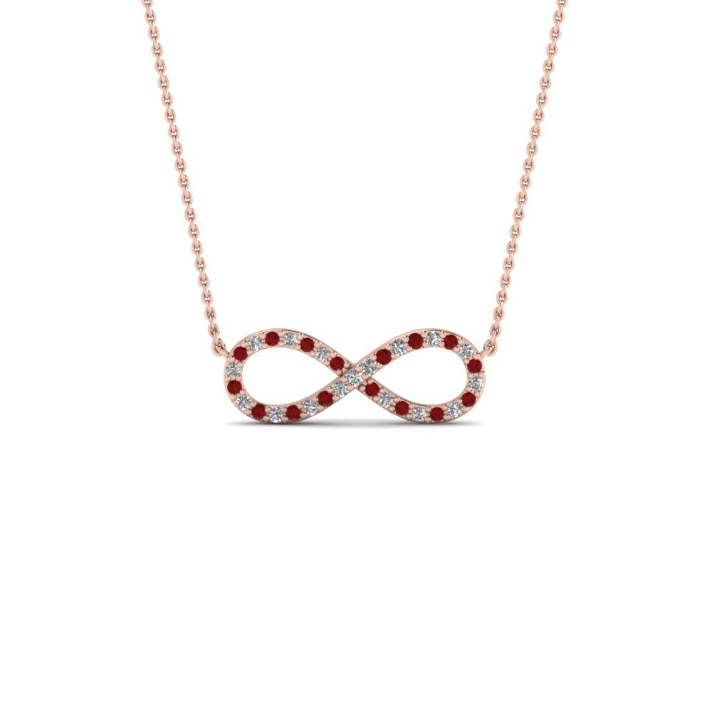 Infinity Diamond Necklace Pendant With Ruby In 14K Rose Gold