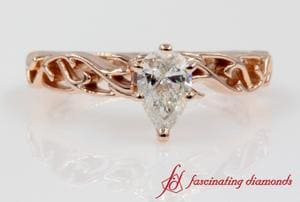 Intricate Solitaire Engagement Ring In Rose Gold