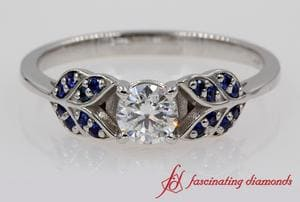 Leaf Style Diamond Ring With Sapphire In White Gold