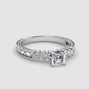 Asscher Shaped Milgrain Engagement Rings