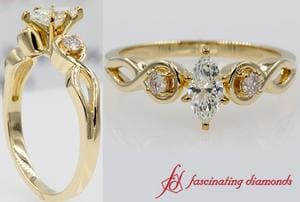 Marquise Cut Twisted 3 Stone Engagement Ring In Gold