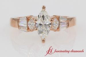 Marquise Diamond Engagement Ring With Baguette In Rose Gold
