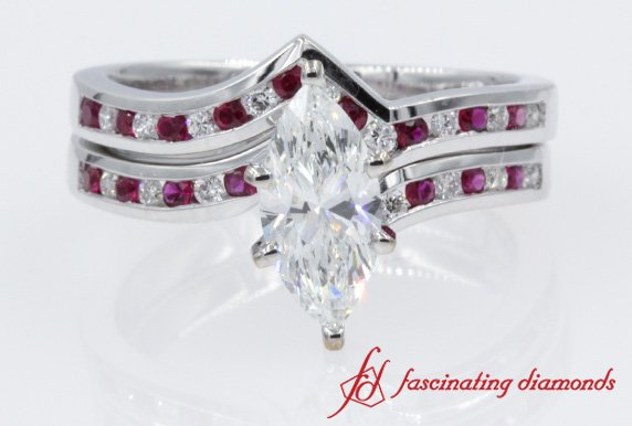 Marquise Diamond Wedding Ring Sets With Red Ruby In 14K White Gold