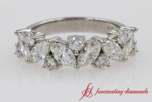 Marquise Leaf Diamond Wedding Band In Platinum