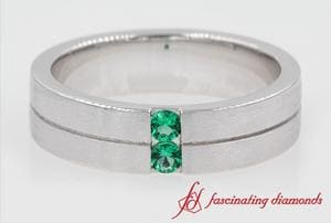 Mens 2 Stone Wedding Band With Emerald In White Gold