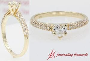 Micropave Natural Heart Diamond Engagement Ring In Gold