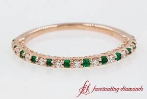 Thin Diamond Band With Emerald