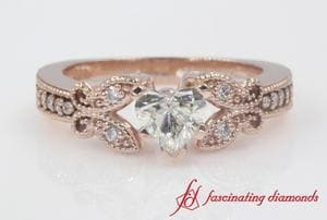 Milgrain Butterfly Diamond Women Engagement Ring In Rose Gold