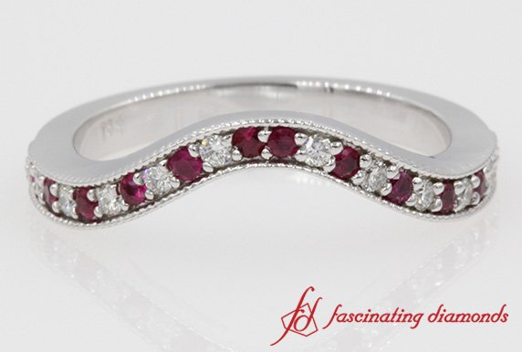 Milgrain Custom Diamond With Ruby Band