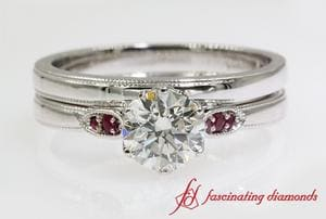Milgrain Ruby Wedding Set