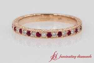 Milgrain Engraved Diamond With Ruby Wedding Band In Rose Gold