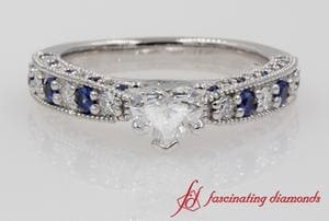 Milgrain Heart Diamond & Sapphire Ring In White Gold