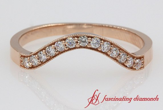 Milgrain Pave Custom Curved Diamond Wedding Band In Rose Gold