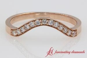 Milgrain Curved Diamond Wedding Band