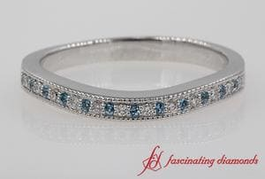 Milgrain Pave Topaz Wedding Band