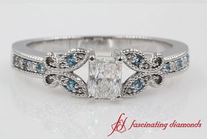 Milgrain Radiant Diamond Engagement Ring With Topaz In White Gold