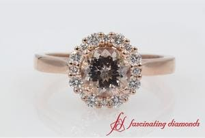 Morganite Flower Halo Engagement Ring In Rose Gold