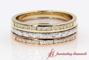 Multi Color Gold Stackable Band For Women