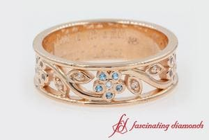 Nature Inspired Blue Topaz Band For Women In Rose Gold