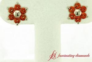 Nature Inspired Orange Topaz Stud Earrings