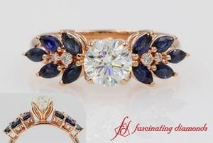 Nature Inspired Round Diamond Sapphire Ring In Rose Gold