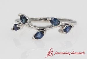 Nature Inspired Sapphire Band In White Gold