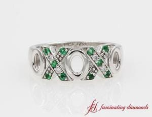 XO Design Diamond Emerald Wedding Band