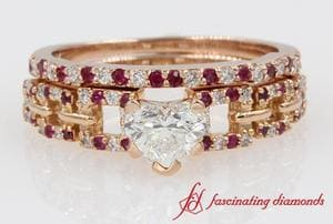 Open Block Design Bridal Ring Set