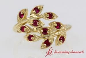 Open Leaf Ruby Band In Yellow Gold