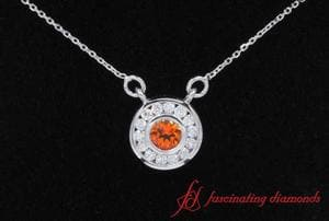 Orange Topaz Diamond Halo Pendant In White Gold