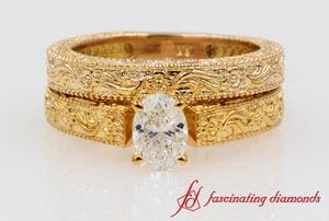 Oval Diamond Vintage Solitaire Wedding Set In Rose Gold
