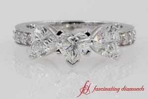 Pave 3 Heart Diamonds Engagement Ring In White Gold