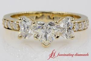 Pave 3 Stone Diamond Heart Engagement Ring In Gold