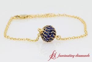 Pave Ball Blue Sapphire Chain Bracelet In Yellow Gold