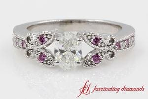Pave Butterfly Oval Diamond With Pink Sapphire Engagement Ring In White Gold