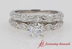 Pave Criss Cross Diamond Wedding Set In White Gold