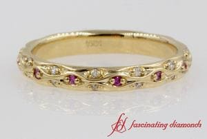 Pave Cross Diamond & Pink Sapphire Anniversary Band In Gold