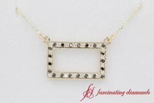 Pave Black Diamond Open Rectangle Necklace In Gold