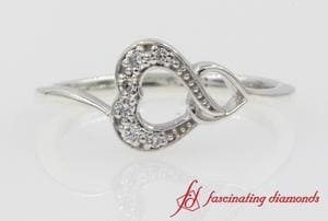 Pave Diamond Double Heart Promise Ring