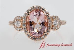 Halo Morganite 3 Stone Ring