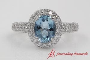 Pave Oval Shaped Aquamarine Halo Engagement Ring In White Gold