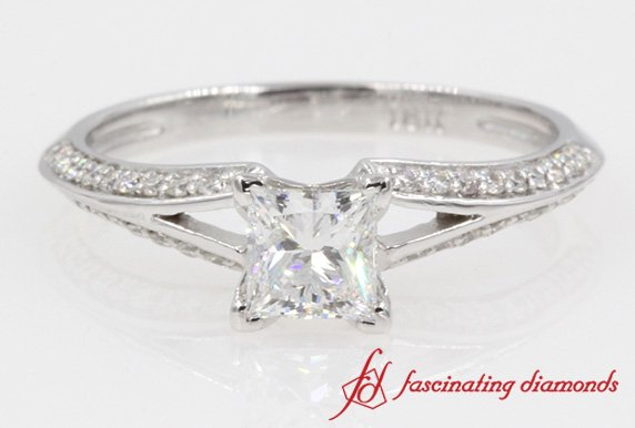 Pave Split Beautiful Princess Cut Diamond Engagement Ring In White Gold