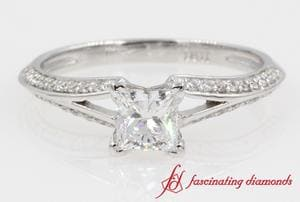 Pave Split Beautiful Princess Cut Engagement Ring