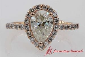 Pear Diamond Halo Engagement Ring In Rose Gold